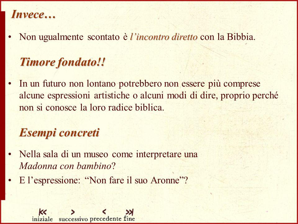 Invece… l'incontro diretto Timore fondato!!Non ugualmente scontato è l'incontro diretto con la Bibbia.