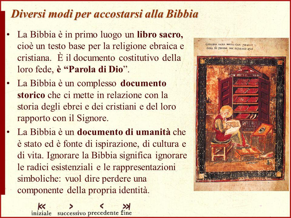 Diversi modi per accostarsi alla Bibbia La Bibbia è in primo luogo un libro sacro, cioè un testo base per la religione ebraica e cristiana.