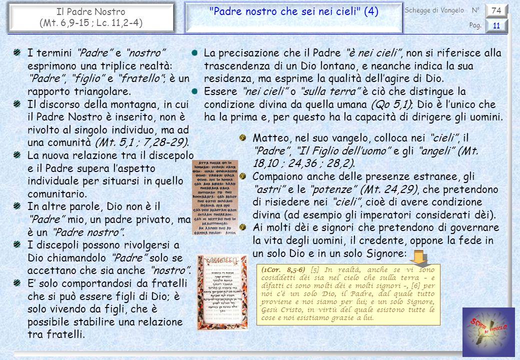 74 Il Padre Nostro (Mt. 6,9-15 ; Lc. 11,2-4)