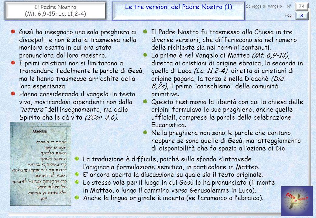 74 Il Padre Nostro (Mt. 6,9-15; Lc. 11,2-4) Le tre versioni del Padre Nostro (1) 3 Pag. Schegge di VangeloN° Gesù ha insegnato una sola preghiera ai d