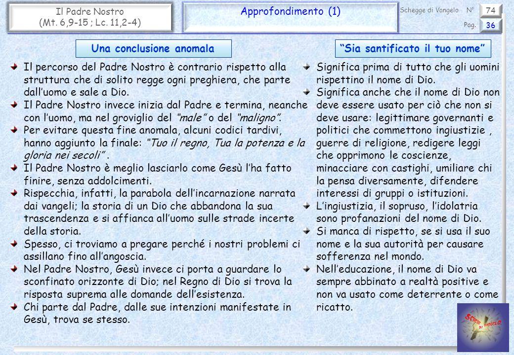 74 Il Padre Nostro (Mt. 6,9-15 ; Lc. 11,2-4) Approfondimento (1) 36 Pag. Schegge di VangeloN° Il percorso del Padre Nostro è contrario rispetto alla s