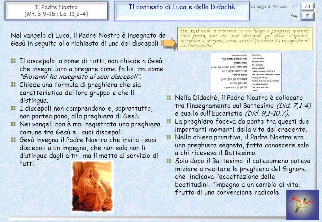 74 Il Padre Nostro (Mt. 6,9-15 ; Lc. 11,2-4) Il contesto di Luca e della Didachè 7 Pag. Schegge di VangeloN° (Lc. 11,1) Gesù si trovava in un luogo a
