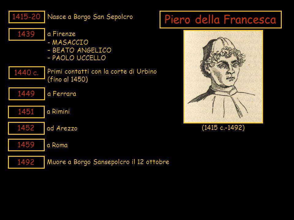 1415-20 Nasce a Borgo San Sepolcro Piero della Francesca (1415 c.-1492) 1439 a Firenze 1451 a Rimini 1452 ad Arezzo 1492 Muore a Borgo Sansepolcro il
