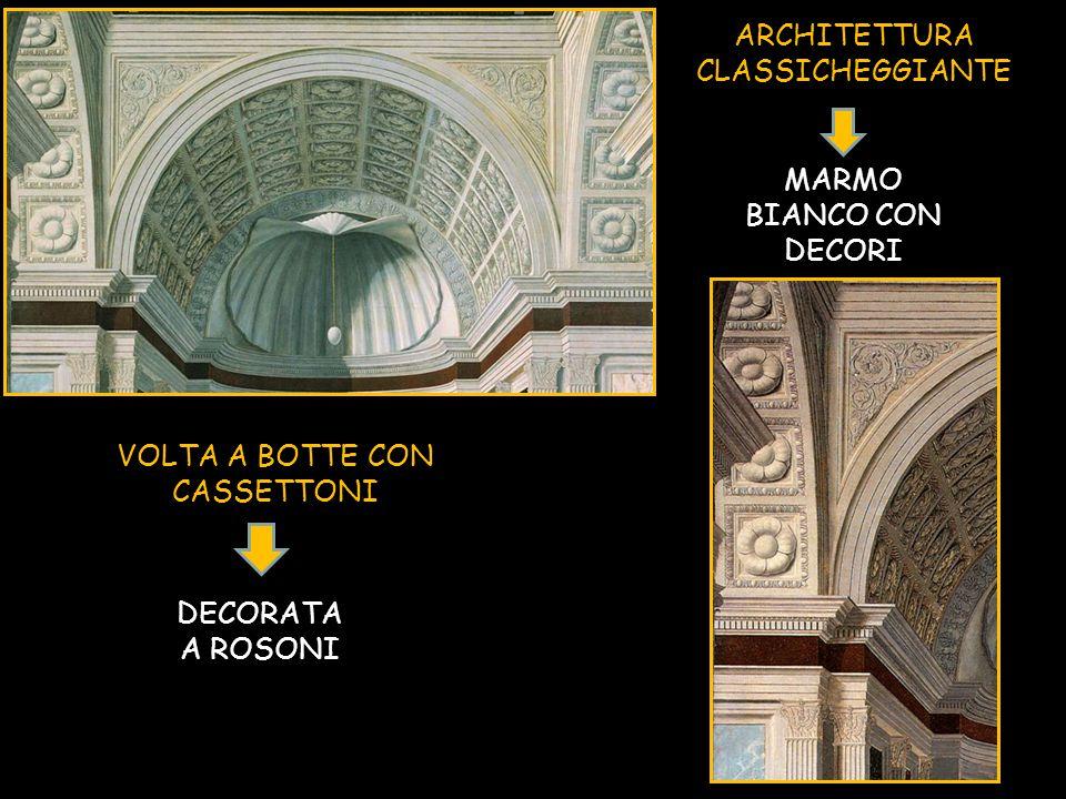 ARCHITETTURA CLASSICHEGGIANTE VOLTA A BOTTE CON CASSETTONI MARMO BIANCO CON DECORI DECORATA A ROSONI