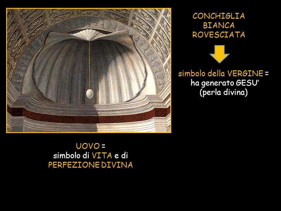 CONCHIGLIA BIANCA ROVESCIATA simbolo della VERGINE = ha generato GESU' (perla divina) UOVO = simbolo di VITA e di PERFEZIONE DIVINA