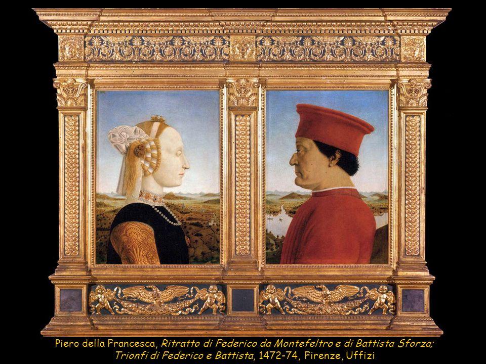 Piero della Francesca, Ritratto di Federico da Montefeltro e di Battista Sforza; Trionfi di Federico e Battista, 1472-74, Firenze, Uffizi