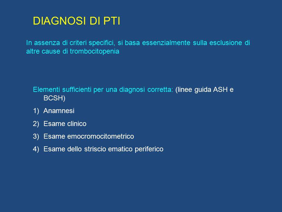 DIAGNOSI DI PTI In assenza di criteri specifici, si basa essenzialmente sulla esclusione di altre cause di trombocitopenia Elementi sufficienti per un