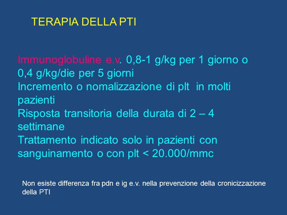 Immunoglobuline e.v. 0,8-1 g/kg per 1 giorno o 0,4 g/kg/die per 5 giorni Incremento o nomalizzazione di plt in molti pazienti Risposta transitoria del