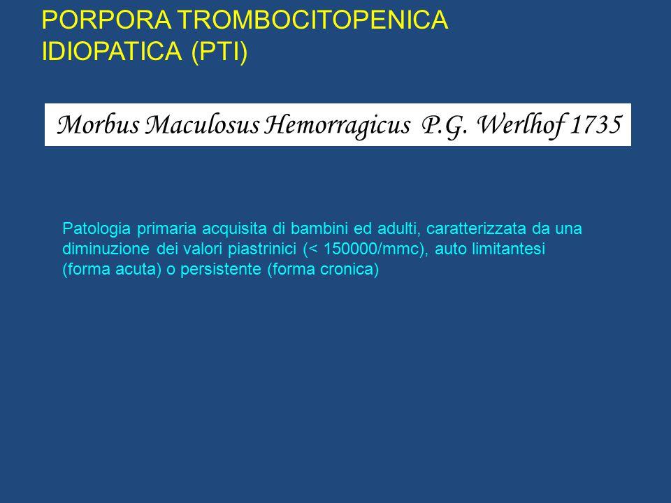 PORPORA TROMBOCITOPENICA IMMUNE (PTI) Malattia caratterizzata da trombocitopenia isolata Non associata ad altre condizioni morbose clinicamente evidenti o altre cause di trombocitopenia Patogenesi autoimmunitaria (GP IIb/IIIa e Ib/IX, IV e V (R.