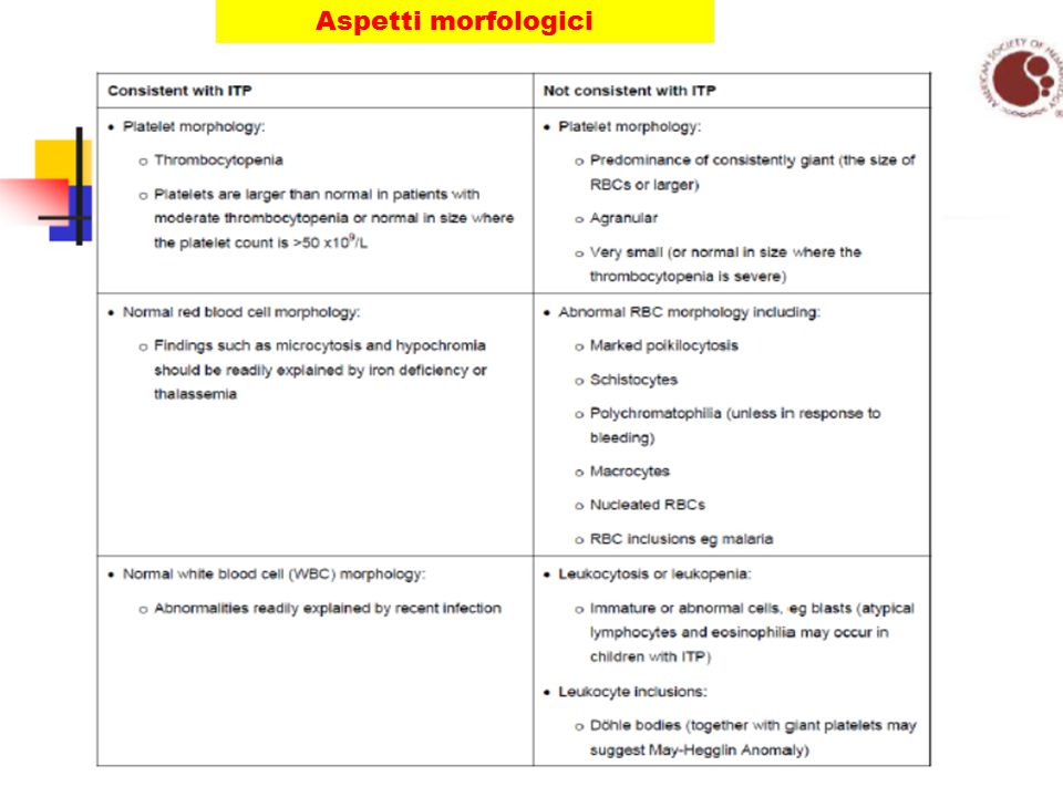 DIAGNOSI DI PTI In assenza di criteri specifici, si basa essenzialmente sulla esclusione di altre cause di trombocitopenia Elementi sufficienti per una diagnosi corretta: (linee guida ASH e BCSH) 1)Anamnesi 2)Esame clinico 3)Esame emocromocitometrico 4)Esame dello striscio ematico periferico