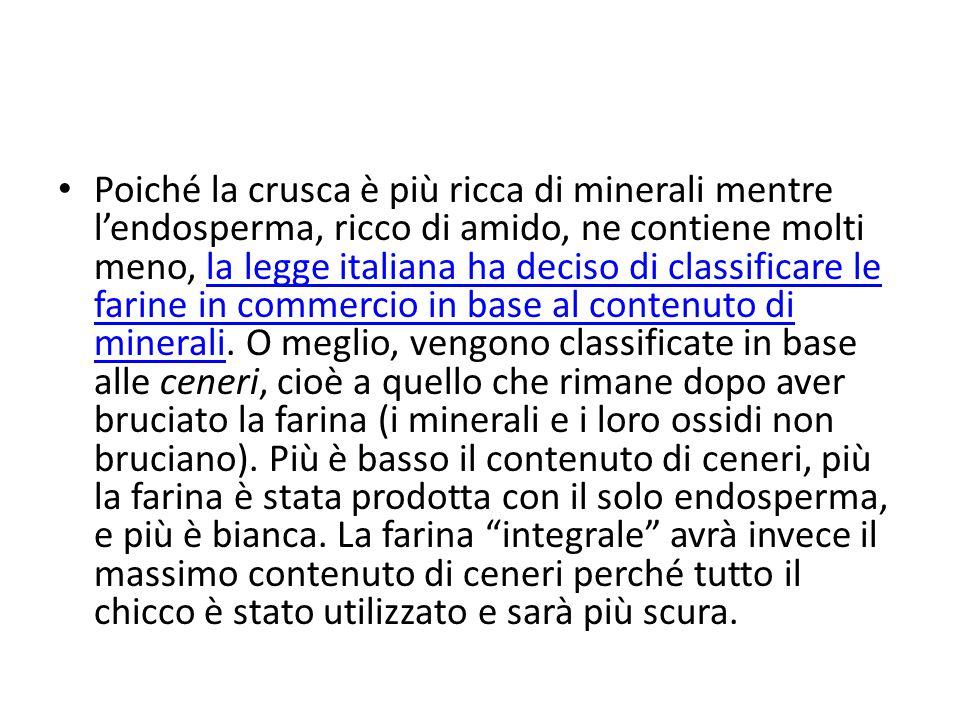 Poiché la crusca è più ricca di minerali mentre l'endosperma, ricco di amido, ne contiene molti meno, la legge italiana ha deciso di classificare le f