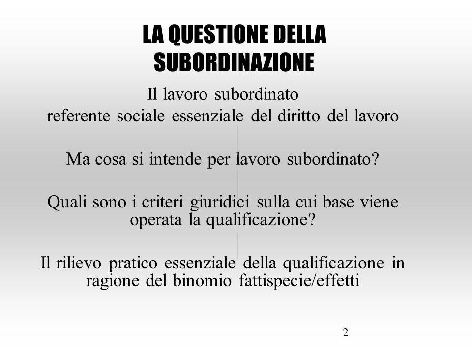 2 Il lavoro subordinato referente sociale essenziale del diritto del lavoro Ma cosa si intende per lavoro subordinato? Quali sono i criteri giuridici