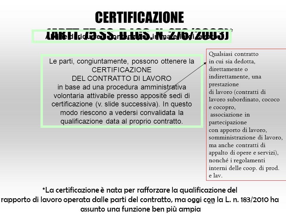 22 CERTIFICAZIONE (ARTT. 75 SS. D.LGS. N. 276/2003)* Al fine di ridurre il contenzioso in materia di lavoro Le parti, congiuntamente, possono ottenere