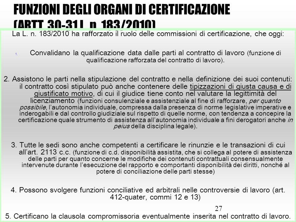 27 FUNZIONI DEGLI ORGANI DI CERTIFICAZIONE (ARTT. 30-31 L. n. 183/2010) La L. n. 183/2010 ha rafforzato il ruolo delle commissioni di certificazione,
