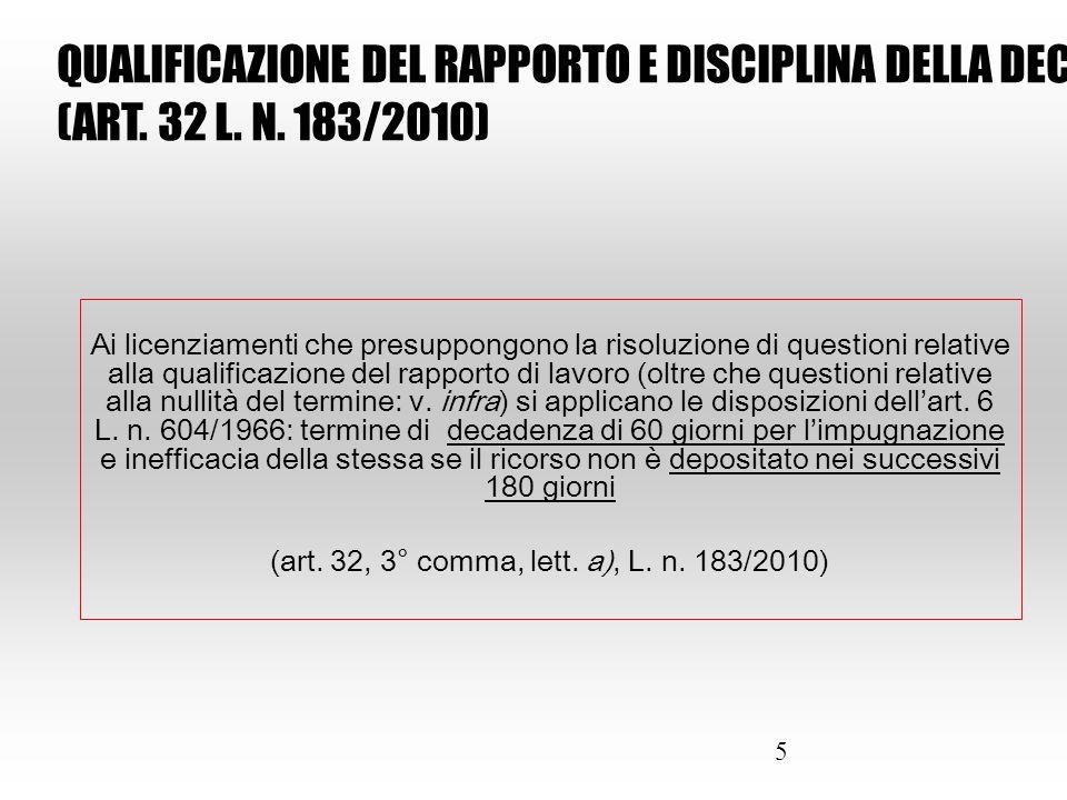 16 Riferimenti normativi: Artt.70 ss. D. Lgs. n. 276/2003 come mod.