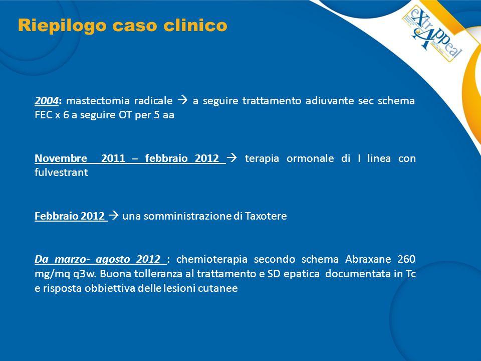 Riepilogo caso clinico 2004: mastectomia radicale  a seguire trattamento adiuvante sec schema FEC x 6 a seguire OT per 5 aa Novembre 2011 – febbraio