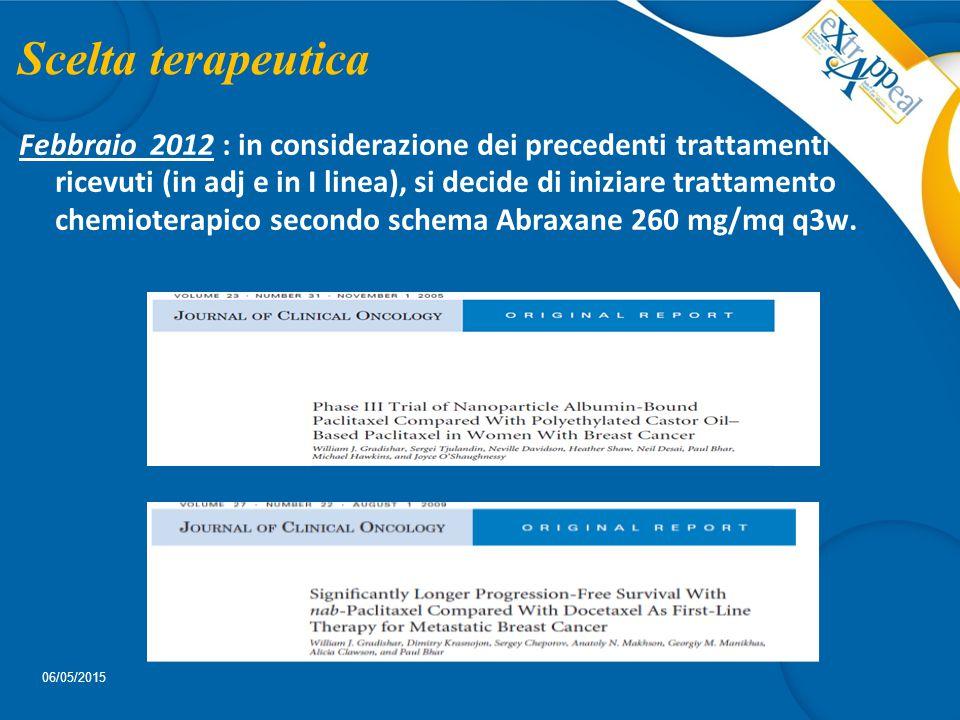 Scelta terapeutica Febbraio 2012 : in considerazione dei precedenti trattamenti ricevuti (in adj e in I linea), si decide di iniziare trattamento chem