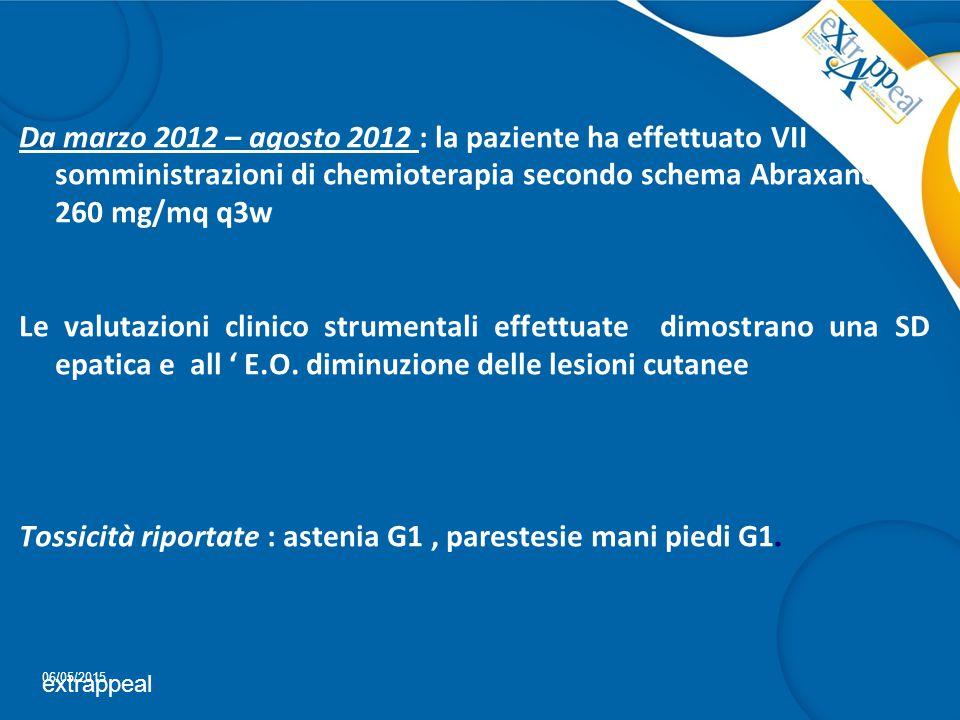 Da marzo 2012 – agosto 2012 : la paziente ha effettuato VII somministrazioni di chemioterapia secondo schema Abraxane 260 mg/mq q3w Le valutazioni cli