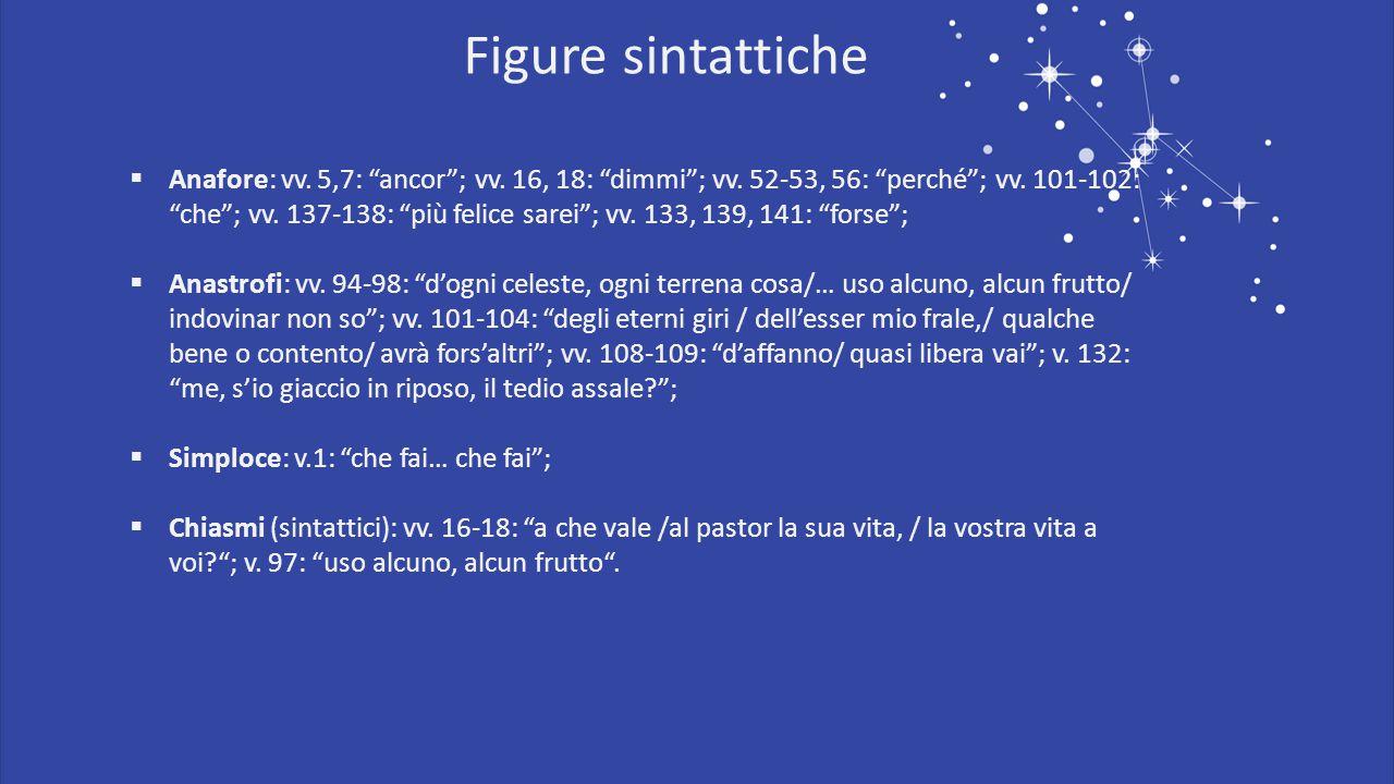 " Anafore: vv. 5,7: ""ancor""; vv. 16, 18: ""dimmi""; vv. 52-53, 56: ""perché""; vv. 101-102: ""che""; vv. 137-138: ""più felice sarei""; vv. 133, 139, 141: ""fo"