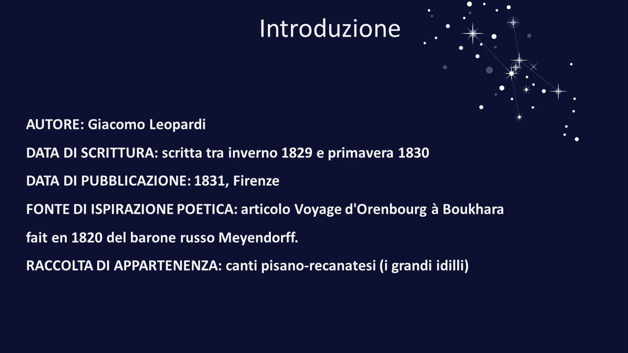 Introduzione AUTORE: Giacomo Leopardi DATA DI SCRITTURA: scritta tra inverno 1829 e primavera 1830 DATA DI PUBBLICAZIONE: 1831, Firenze FONTE DI ISPIR