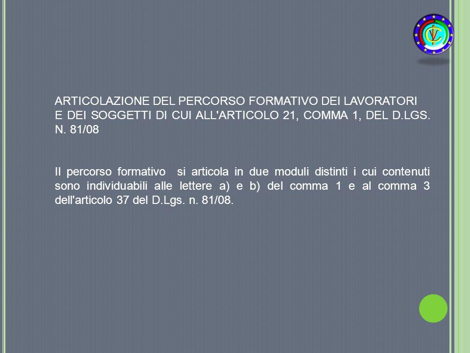 ARTICOLAZIONE DEL PERCORSO FORMATIVO DEI LAVORATORI E DEI SOGGETTI DI CUI ALL'ARTICOLO 21, COMMA 1, DEL D.LGS. N. 81/08 Il percorso formativo si artic