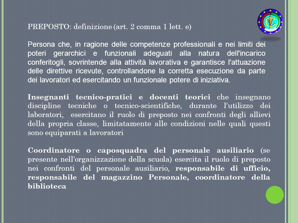 PREPOSTO: definizione (art. 2 comma 1 lett. e) Persona che, in ragione delle competenze professionali e nei limiti dei poteri gerarchici e funzionali