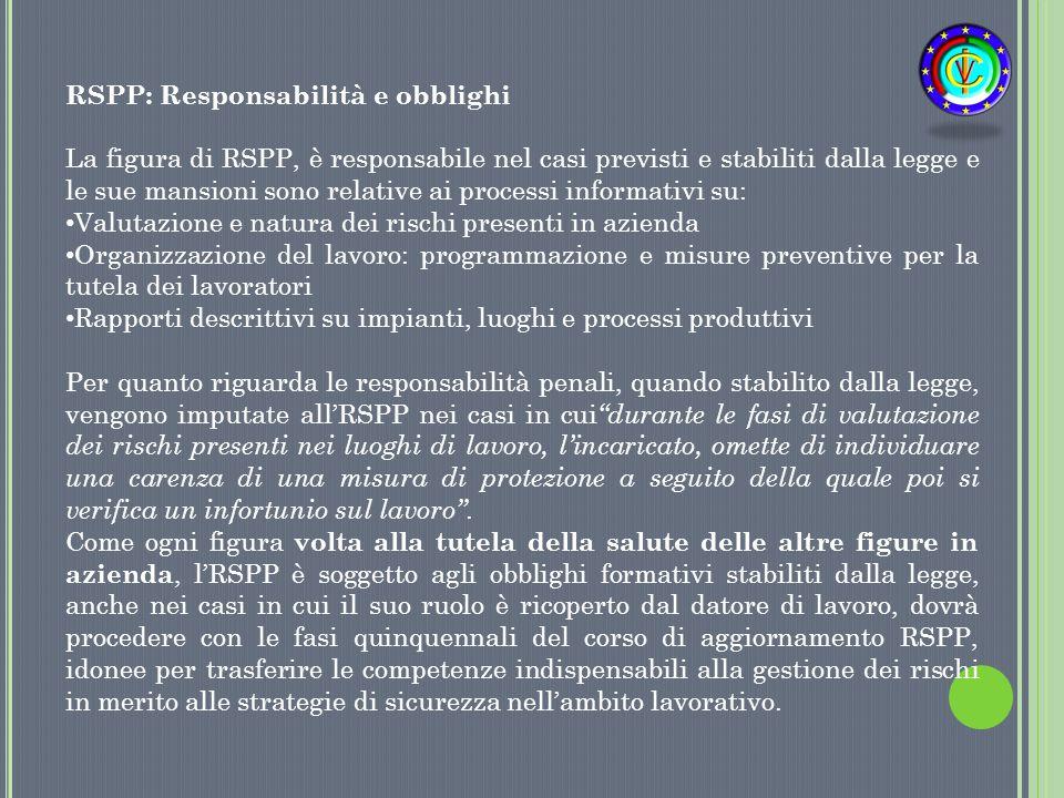 RSPP: Responsabilità e obblighi La figura di RSPP, è responsabile nel casi previsti e stabiliti dalla legge e le sue mansioni sono relative ai process