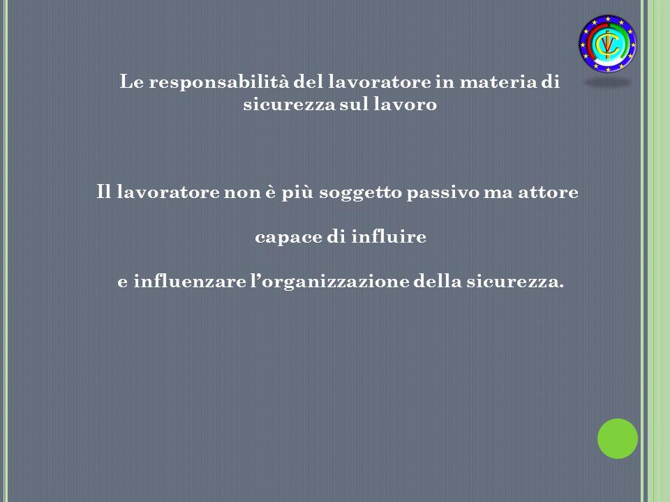 Il lavoratore non è più soggetto passivo ma attore capace di influire e influenzare l'organizzazione della sicurezza. Le responsabilità del lavoratore