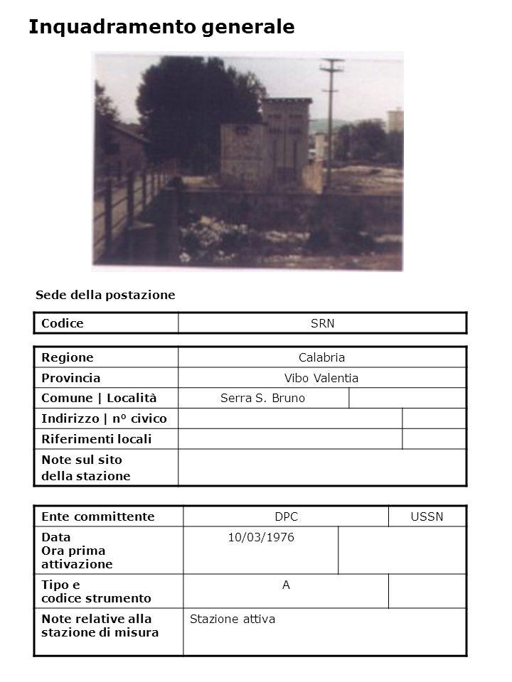 Sede della postazione CodiceSRN Ente committenteDPCUSSN Data Ora prima attivazione 10/03/1976 Tipo e codice strumento A Note relative alla stazione di