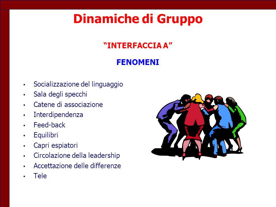 """Dinamiche di Gruppo """"INTERFACCIA A"""" FENOMENI Socializzazione del linguaggio Sala degli specchi Catene di associazione Interdipendenza Feed-back Equili"""