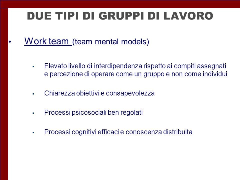 DUE TIPI DI GRUPPI DI LAVORO Work team (team mental models)  Elevato livello di interdipendenza rispetto ai compiti assegnati e percezione di operare