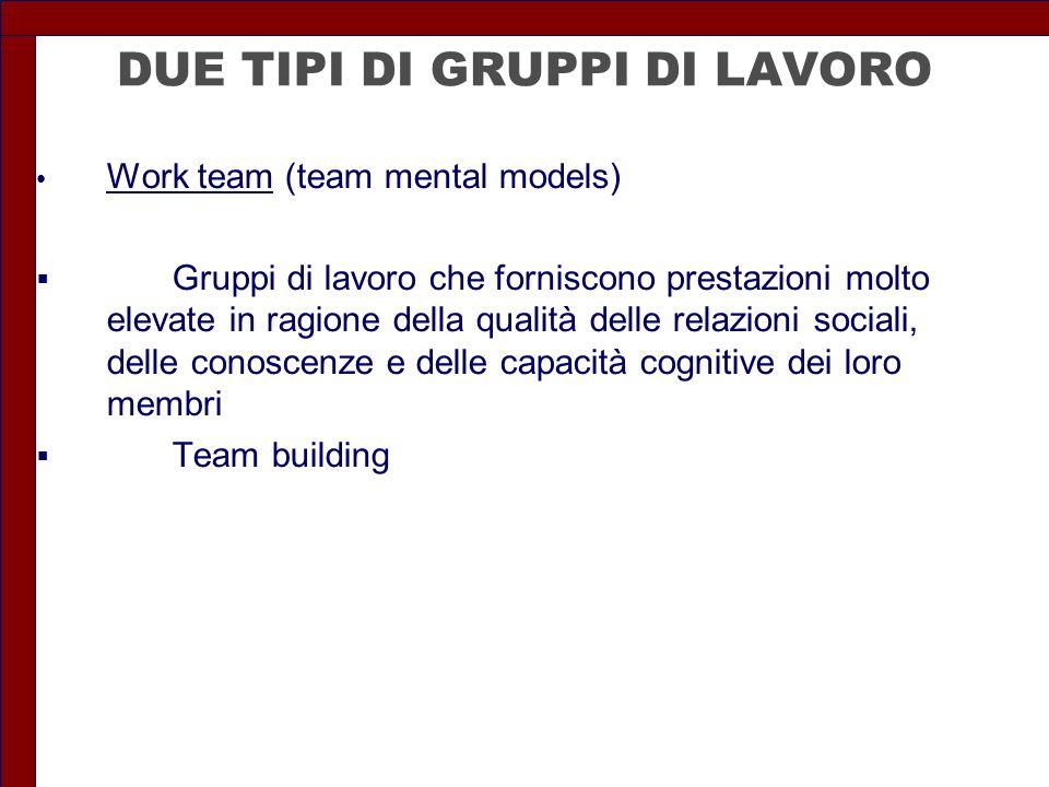 DUE TIPI DI GRUPPI DI LAVORO Work team (team mental models)  Gruppi di lavoro che forniscono prestazioni molto elevate in ragione della qualità delle