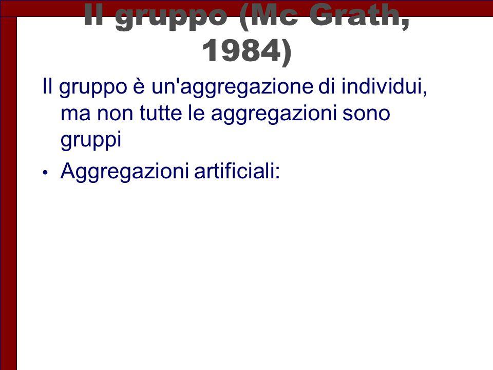 Il gruppo (Mc Grath, 1984) Il gruppo è un'aggregazione di individui, ma non tutte le aggregazioni sono gruppi Aggregazioni artificiali: