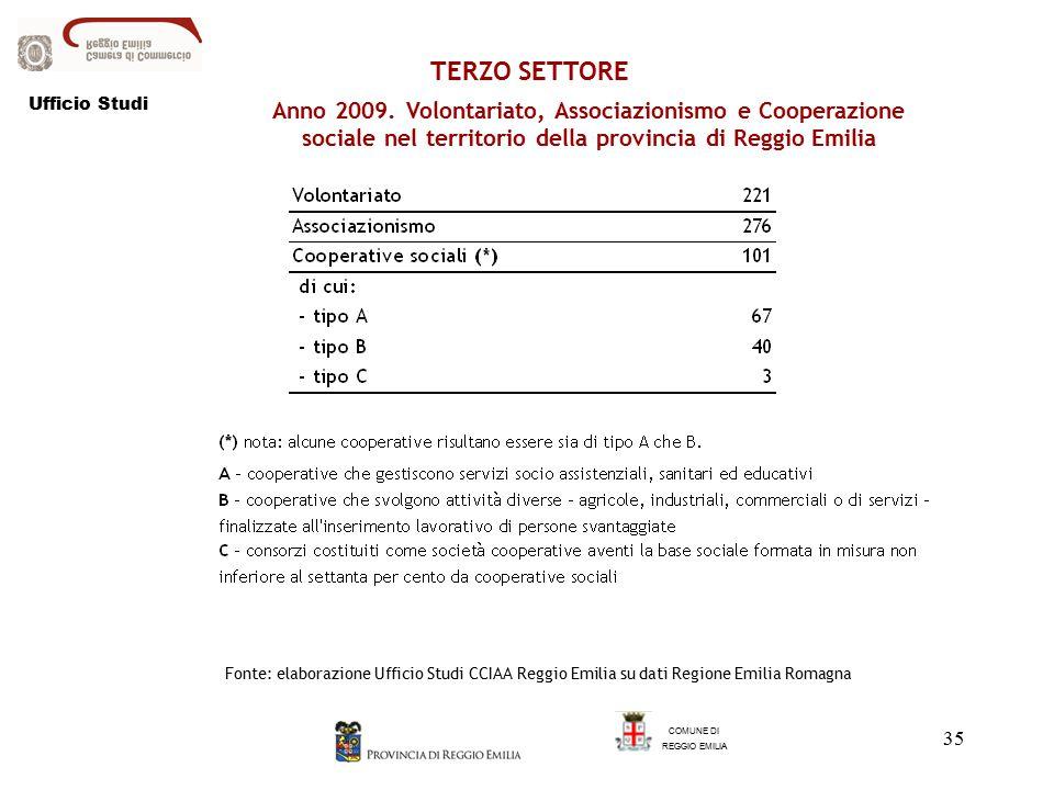 35 TERZO SETTORE COMUNE DI REGGIO EMILIA Anno 2009.