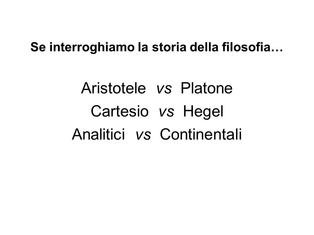 Se interroghiamo la storia della filosofia… Aristotele vs Platone Cartesio vs Hegel Analitici vs Continentali