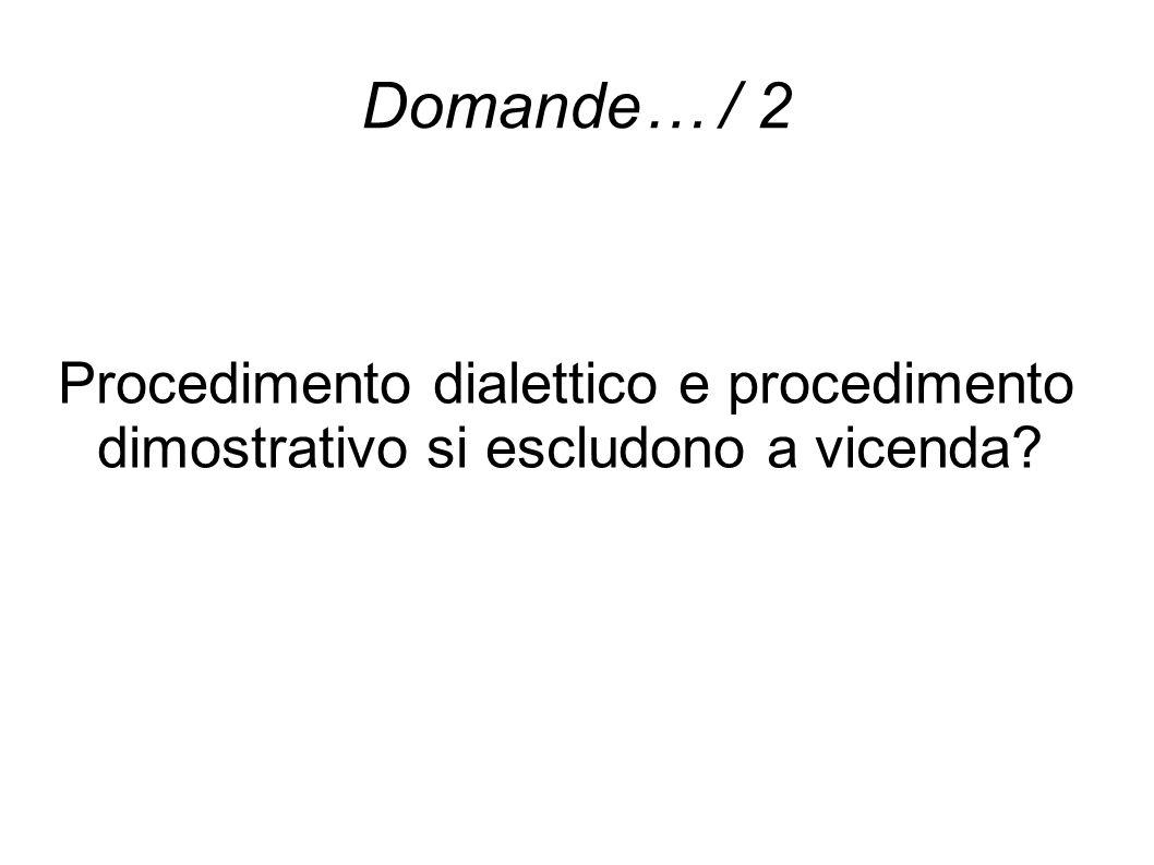 Domande… / 2 Procedimento dialettico e procedimento dimostrativo si escludono a vicenda