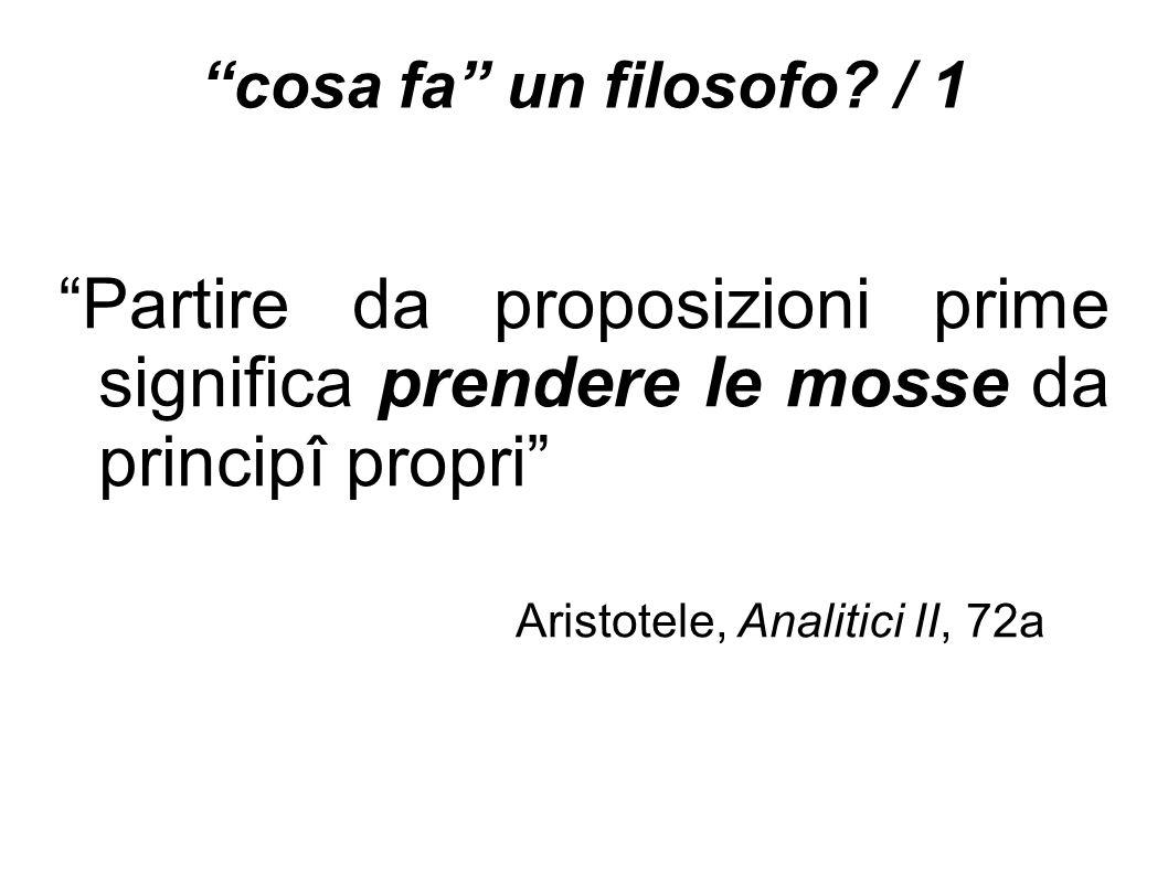 """""""cosa fa"""" un filosofo? / 1 """"Partire da proposizioni prime significa prendere le mosse da principî propri"""" Aristotele, Analitici II, 72a"""