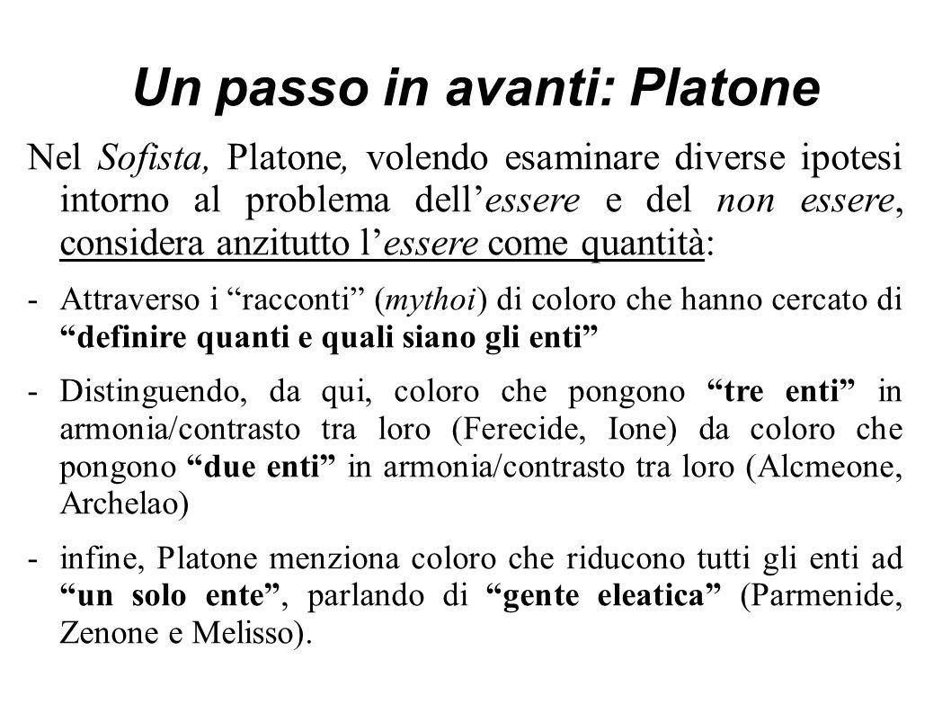 Un passo in avanti: Platone Nel Sofista, Platone, volendo esaminare diverse ipotesi intorno al problema dell'essere e del non essere, considera anzitutto l'essere come quantità: -Attraverso i racconti (mythoi) di coloro che hanno cercato di definire quanti e quali siano gli enti -Distinguendo, da qui, coloro che pongono tre enti in armonia/contrasto tra loro (Ferecide, Ione) da coloro che pongono due enti in armonia/contrasto tra loro (Alcmeone, Archelao) -infine, Platone menziona coloro che riducono tutti gli enti ad un solo ente , parlando di gente eleatica (Parmenide, Zenone e Melisso).