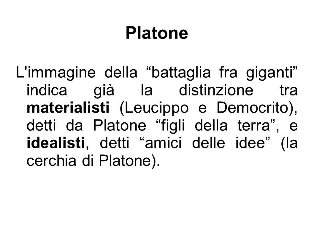 Platone L immagine della battaglia fra giganti indica già la distinzione tra materialisti (Leucippo e Democrito), detti da Platone figli della terra , e idealisti, detti amici delle idee (la cerchia di Platone).