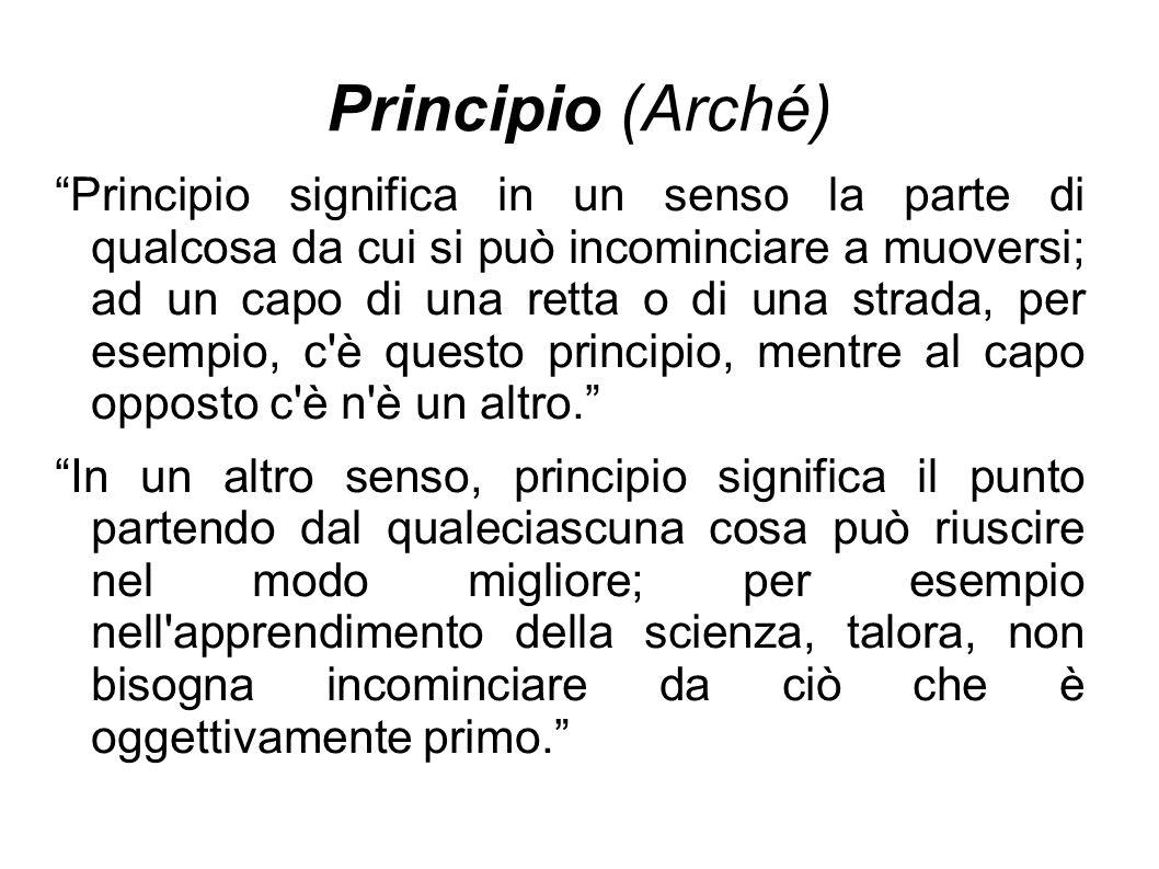 """Principio (Arché) """"Principio significa in un senso la parte di qualcosa da cui si può incominciare a muoversi; ad un capo di una retta o di una strada"""