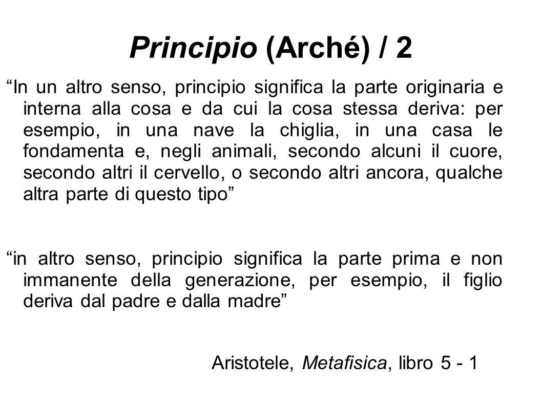 Principio (Arché) / 2 In un altro senso, principio significa la parte originaria e interna alla cosa e da cui la cosa stessa deriva: per esempio, in una nave la chiglia, in una casa le fondamenta e, negli animali, secondo alcuni il cuore, secondo altri il cervello, o secondo altri ancora, qualche altra parte di questo tipo in altro senso, principio significa la parte prima e non immanente della generazione, per esempio, il figlio deriva dal padre e dalla madre Aristotele, Metafisica, libro 5 - 1