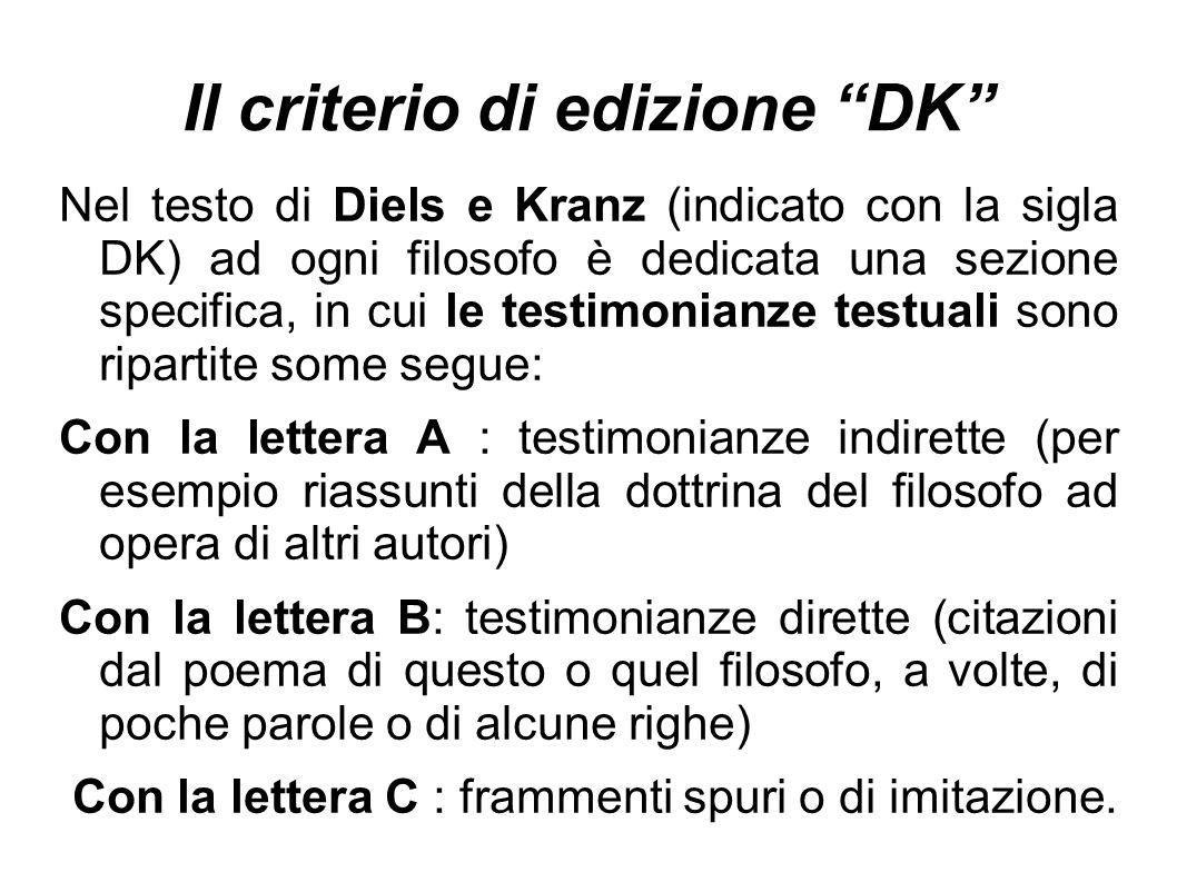 """Il criterio di edizione """"DK"""" Nel testo di Diels e Kranz (indicato con la sigla DK) ad ogni filosofo è dedicata una sezione specifica, in cui le testim"""