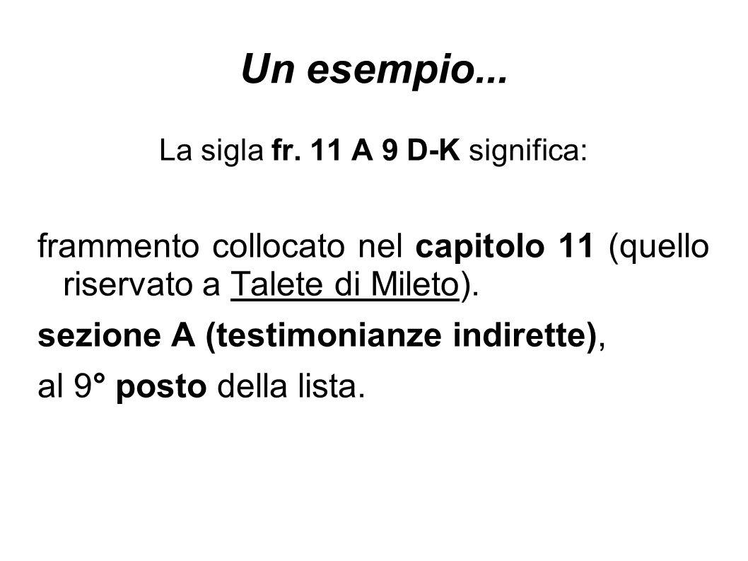 Un esempio... La sigla fr. 11 A 9 D-K significa: frammento collocato nel capitolo 11 (quello riservato a Talete di Mileto). sezione A (testimonianze i