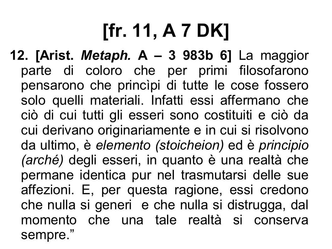 [fr. 11, A 7 DK] 12. [Arist. Metaph.