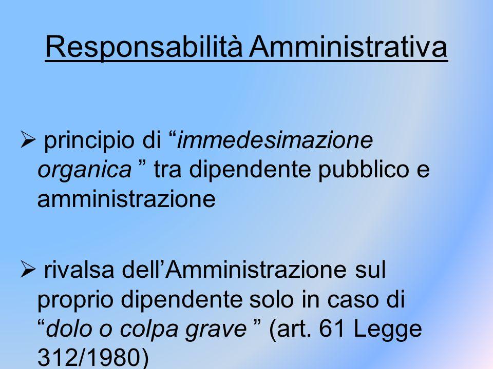 """Responsabilità Amministrativa  principio di """"immedesimazione organica """" tra dipendente pubblico e amministrazione  rivalsa dell'Amministrazione sul"""