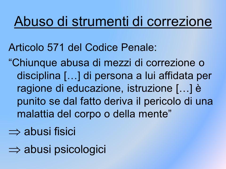 """Abuso di strumenti di correzione Articolo 571 del Codice Penale: """"Chiunque abusa di mezzi di correzione o disciplina […] di persona a lui affidata per"""