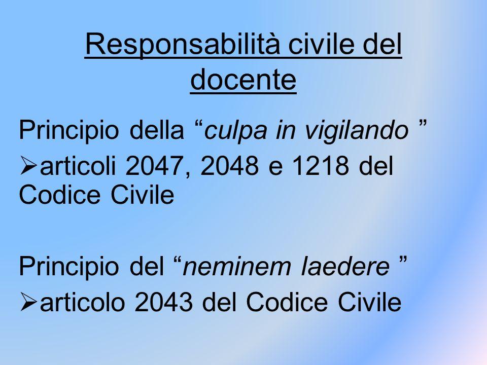 """Responsabilità civile del docente Principio della """"culpa in vigilando """"  articoli 2047, 2048 e 1218 del Codice Civile Principio del """"neminem laedere"""
