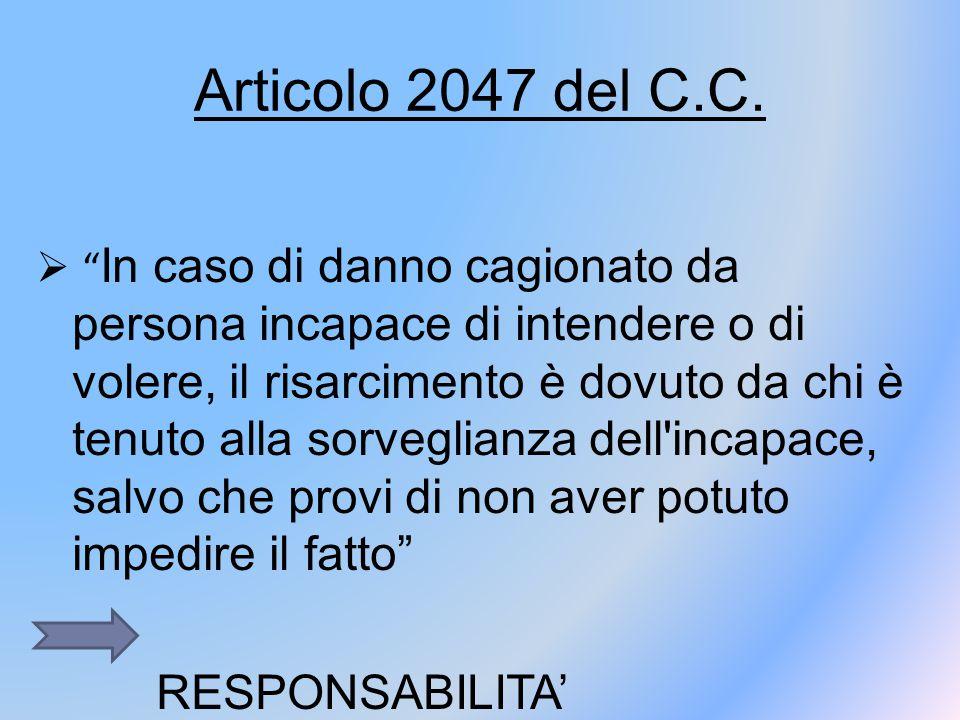 """Articolo 2047 del C.C.  """" In caso di danno cagionato da persona incapace di intendere o di volere, il risarcimento è dovuto da chi è tenuto alla sorv"""