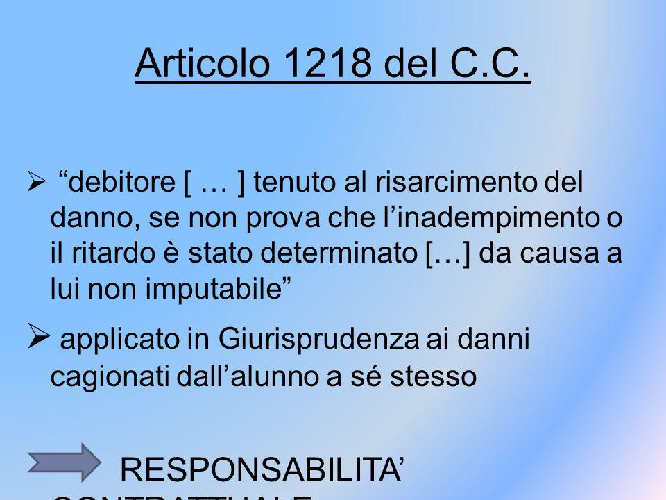 """Articolo 1218 del C.C.  """"debitore [ … ] tenuto al risarcimento del danno, se non prova che l'inadempimento o il ritardo è stato determinato […] da ca"""