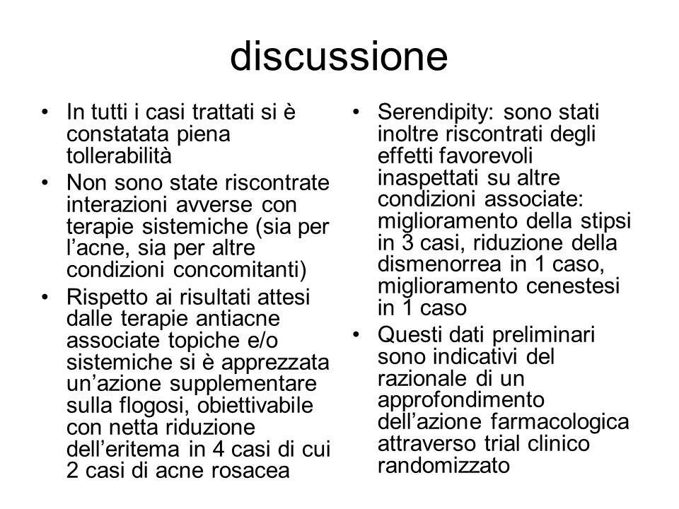 discussione In tutti i casi trattati si è constatata piena tollerabilità Non sono state riscontrate interazioni avverse con terapie sistemiche (sia pe